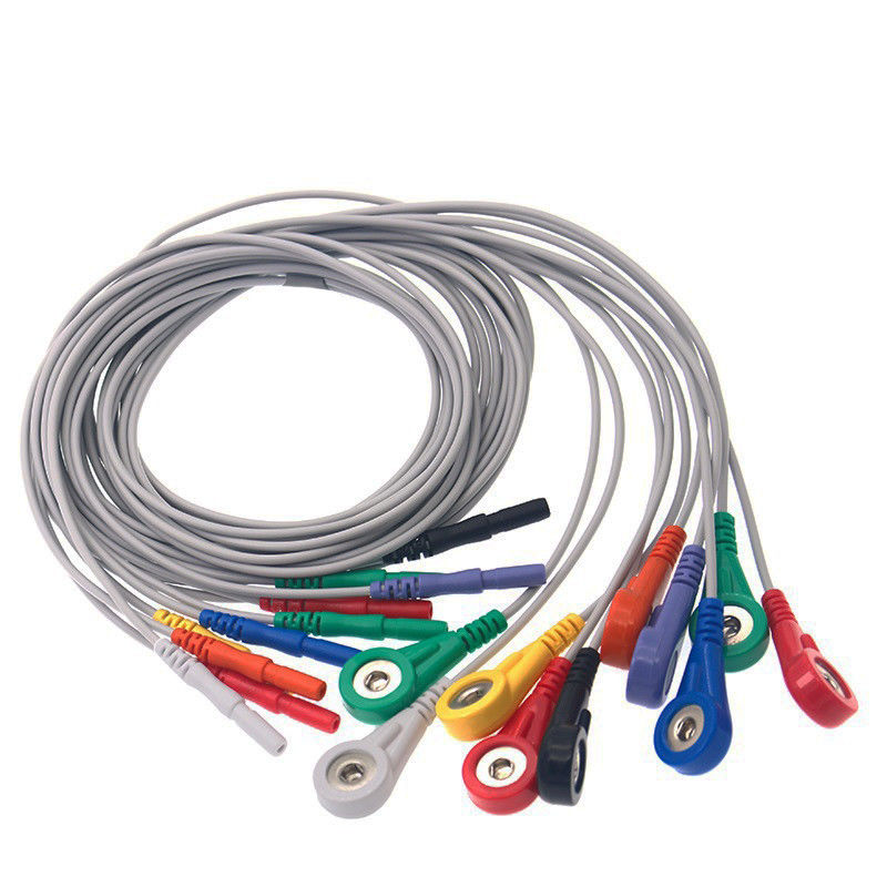 Din 1.5 Holter Record 10 Leads TPU Patient Cable  For Ecg Machine